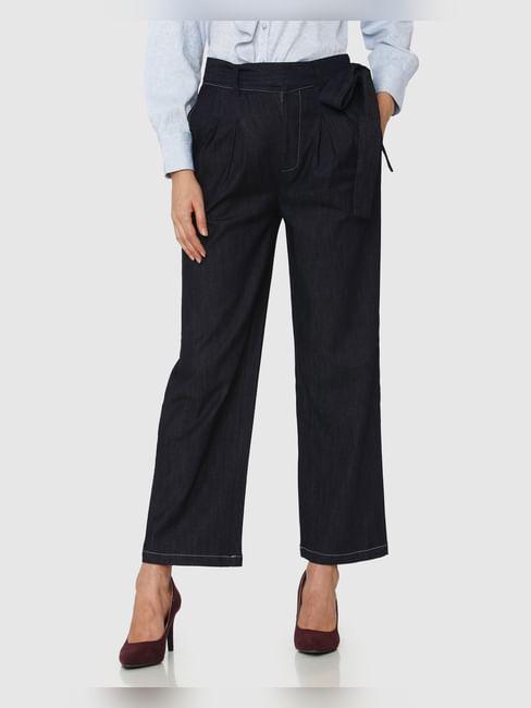 Dark Blue High Rise Ankle Length Tie Up Waist Wide Leg Denim Pants