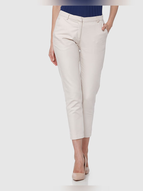 Beige Mid Rise Ankle Length Straight Trousers