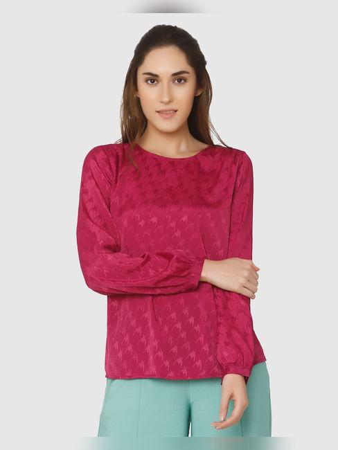 Fuchsia Textured Cuff Sleeves Top