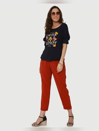 Navy Blue Floral Graphic And Text Print Flared Sleeves T-Shirt