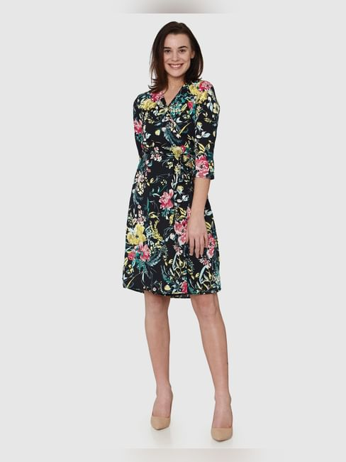 Navy Blue All Over Floral Print Wrap Fit & Flare Dress