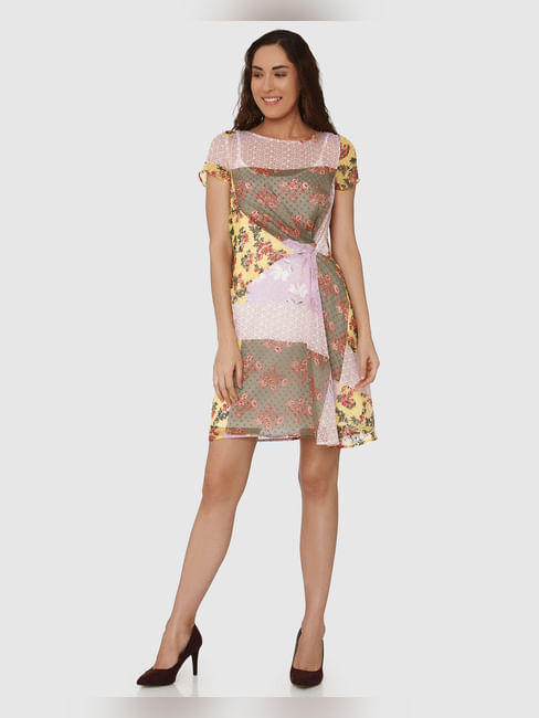 Lavender Colour Blocked Floral Print Shift Dress