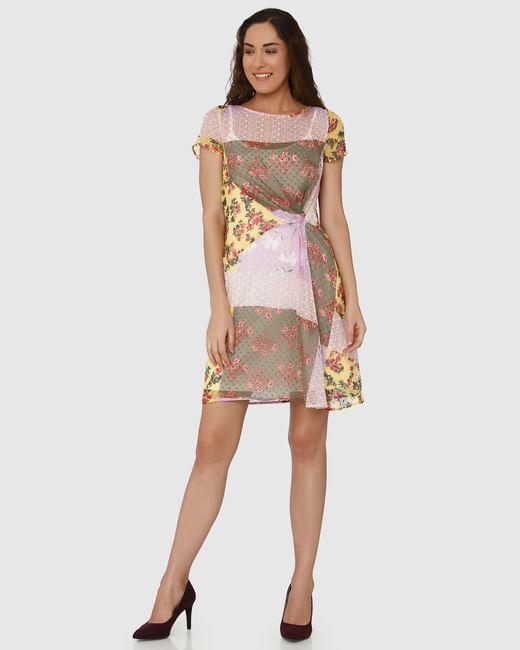 Lavender Colour Blocked Floral Print Shift Dress