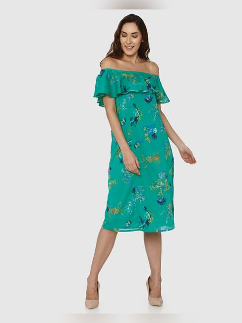Green All Over Floral Print Off Shoulder Midi Dress