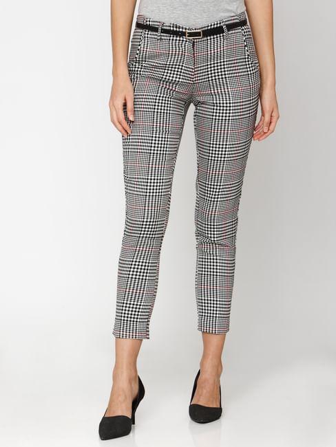 Black Mid Rise Check Ankle Length Pants