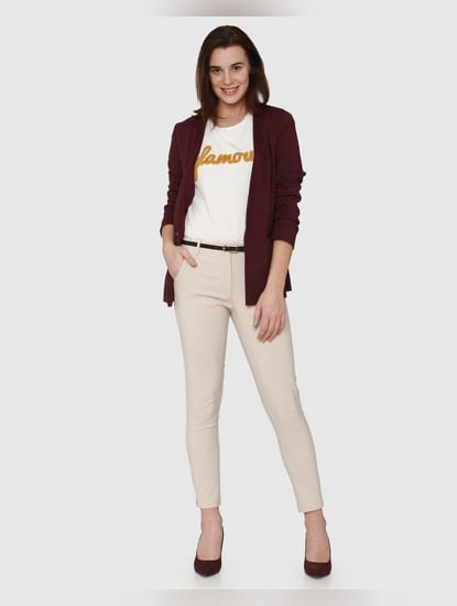 Beige Mid Rise Ankle Length Fitted Pants
