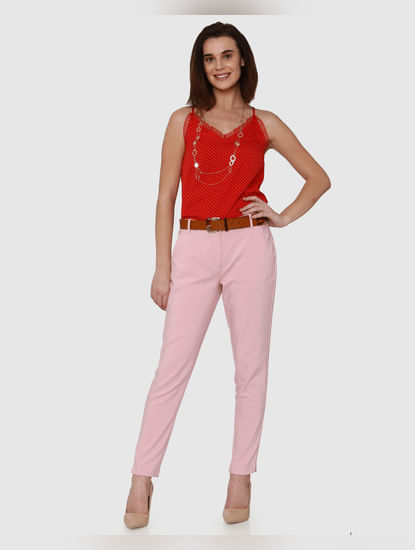 Pink Mid Rise Pants