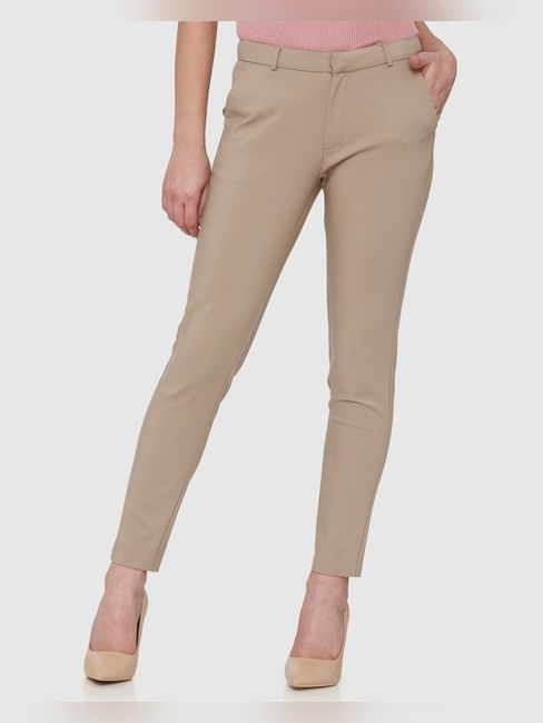 Brown Mid Rise Ankle Length Straight Fit Trousers