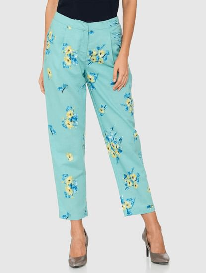Green Mid Rise All Over Floral Print Straight Fit Pants