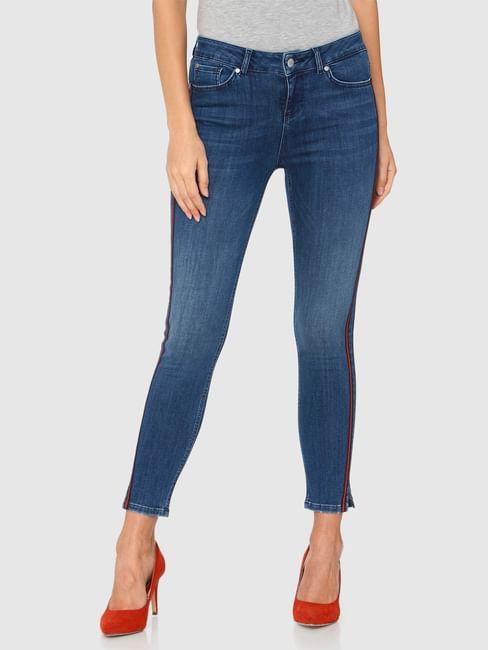 Blue Mid Rise Side Red Tape Detail Side Slit Skinny Fit Jeans