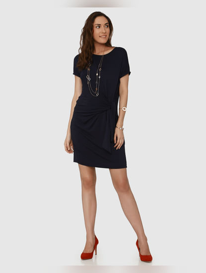 Navy Blue Front Knot Mini Dress