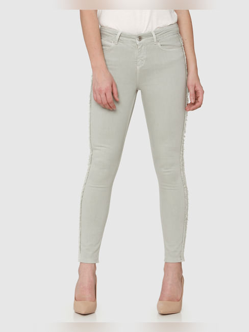 Light Green Mid Rise Side Frayed Tape Detail Ankle Length Skinny Fit Jeans