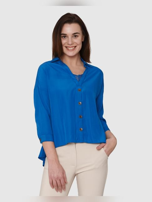 Blue Lace Insert High Low Shirt