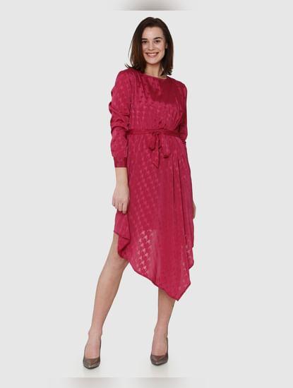 Fuchsia Textured Print Asymmetric Hem Belted Fit & Flare Dress