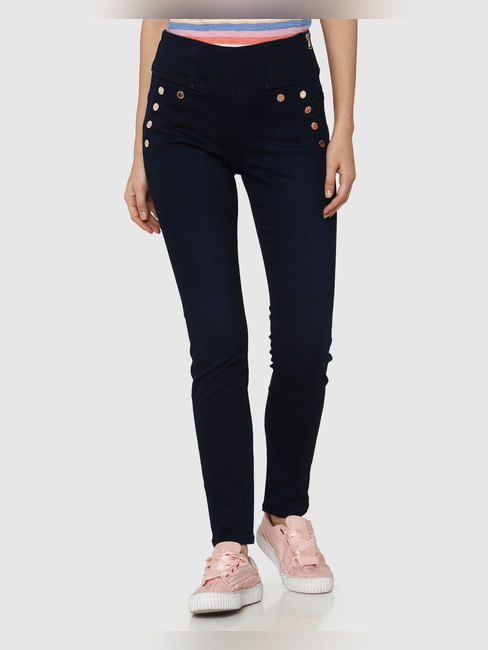 Dark Blue High Waist Rivet Detail Side Zip Skinny Fit Jeans
