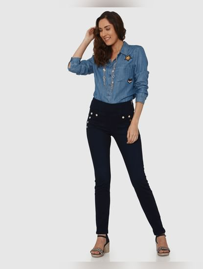 Dark Blue High Waist Rivet Detail Side Zip Skinny Fit Jeans