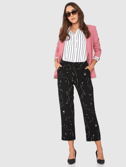 Black Mid Rise Abstract Print Straight Fit Pants