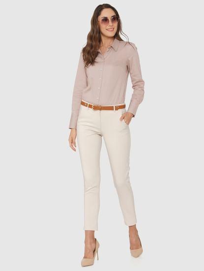 Beige Mid Rise Ankle Length Slim Fit Pants