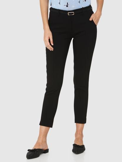 Black Mid Rise Ankle Length Slim Fit Pants
