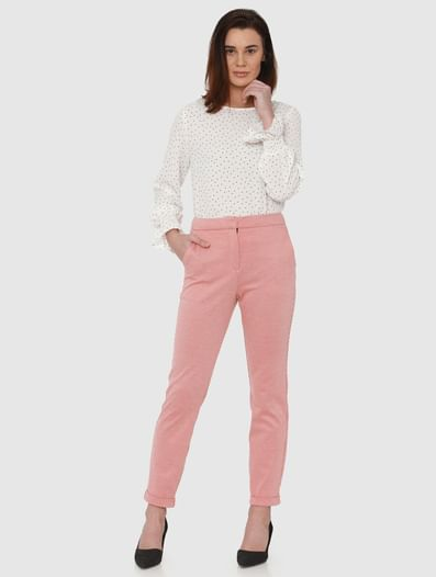 Red Mid Rise Printed Ankle Length Straight Fit Trousers