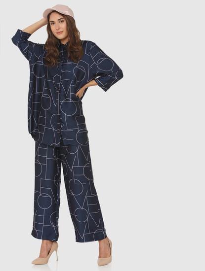 Navy Blue Typographic Print Tunic