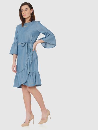 Blue Ruffle Detail Wrap Fit & Flare Denim Dress