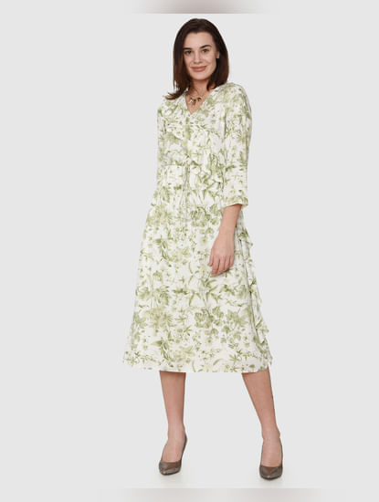 White All Over Tropical Print Ruffle Detail Midi Dress