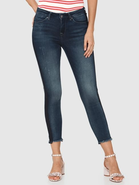 Blue Mid Rise Side Tape Detail Ankle Length Skinny Fit Jeans