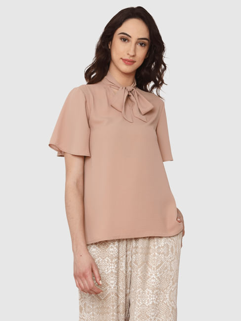 Beige Pussy Bow Detail High Neck Top