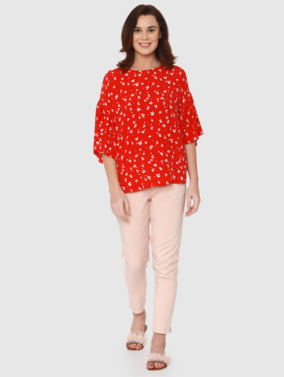 Red All Over Floral Print Flared Sleeves Top