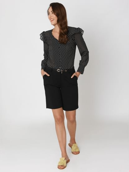 Black Mid Rise Straight Fit Shorts