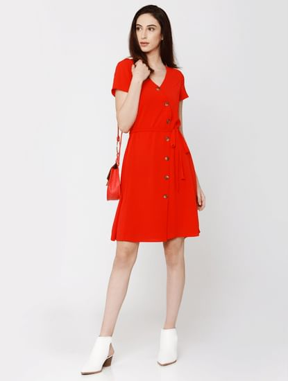 Red Asymmetric Button Placket Fit & Flare Dress