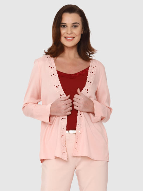 Pink Lace Detail Front Open Coatigan
