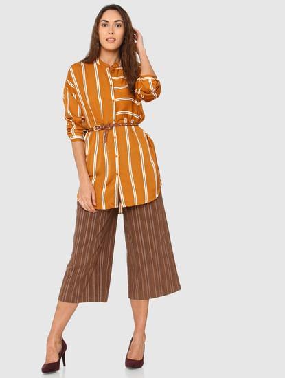 Orange Striped Long Shirt