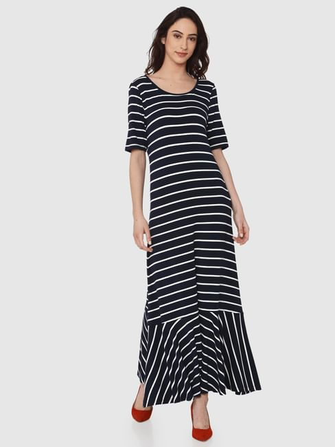 Navy Blue Striped Ruffle Hem Maxi Dress