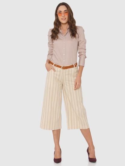 Beige Striped Formal Shirt
