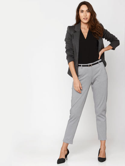Grey Mid Rise Ankle Length Slim Fit Formal Trousers