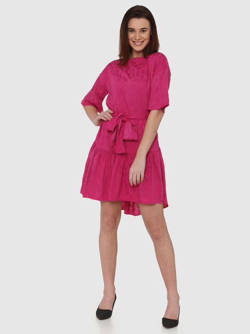 Fuchsia Floral Printed Frill Hem Belted Fit & Flare Dress