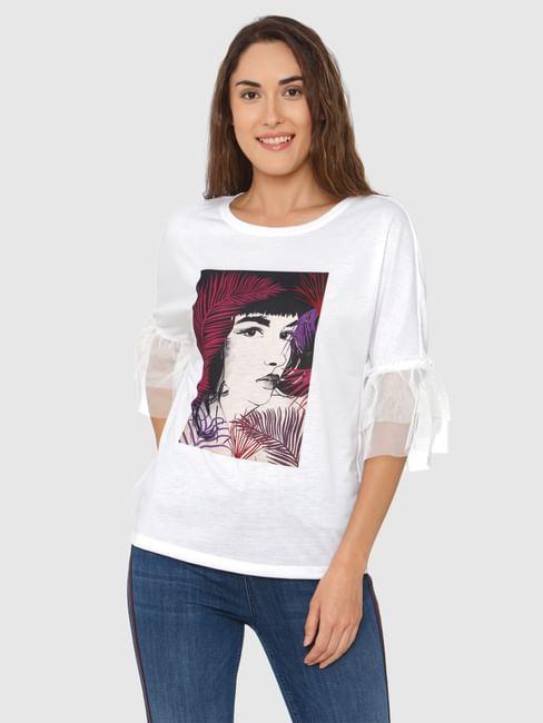 White Graphic Print Net Sleeves Detail T-Shirt
