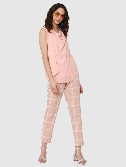 Pink All Over Polka Dot Asymmetric Top