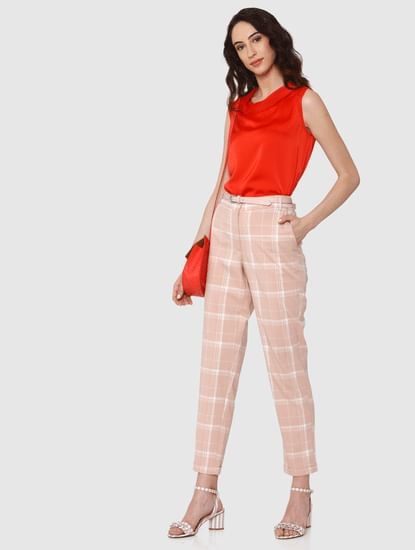 Beige Low Rise Checks Ankle Length Slim Fit Pants