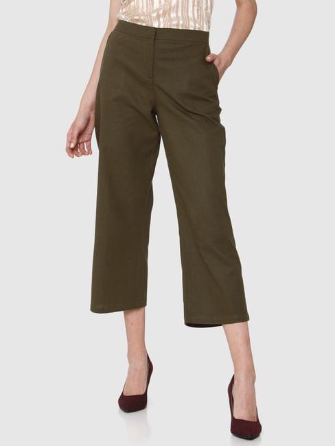 Green Mid Rise Pants
