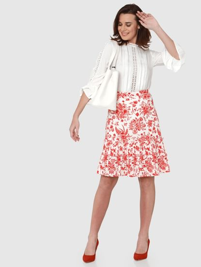 White Mid Rise All Over Floral Print Pleated Hem Skirt