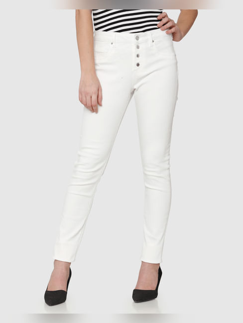White High Rise Ankle Length Skinny Fit Jeans