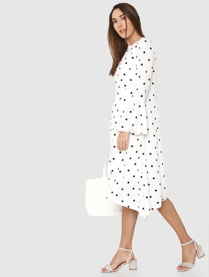 White Polka Dot Print Asymmetric Midi Dress
