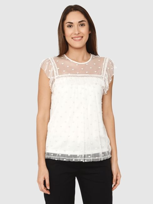 White Lace And Ruffle Detail Sheet Top