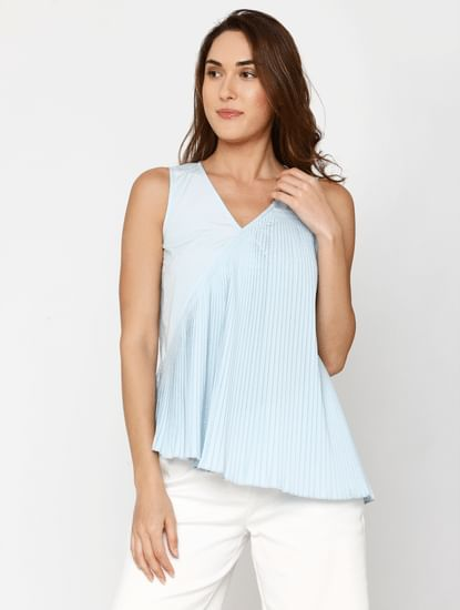 Blue Pleated Top