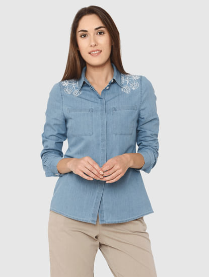 Blue Embroidered Denim Shirt