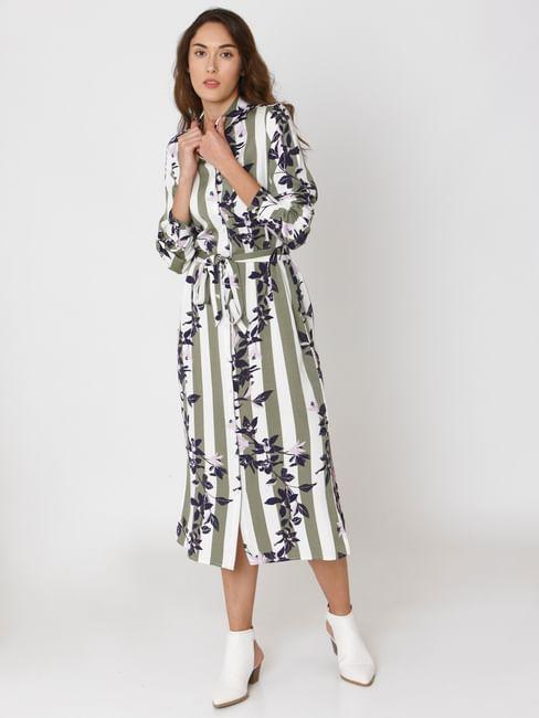 Green Striped Floral Print Shirt Dress