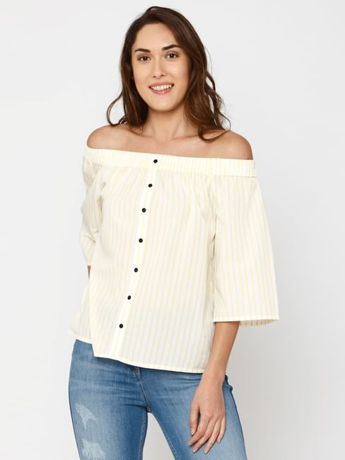 Yellow Striped Off Shoulder Top